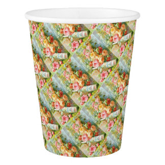 Florida Water Cologne with Cabbage Roses Paper Cup