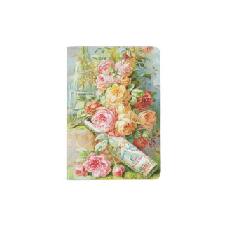 Florida Water Cologne with Cabbage Roses Passport Holder