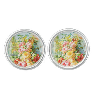 Florida Water Perfume with Cabbage Roses Cuff Links