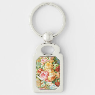 Florida Water Perfume with Cabbage Roses Keychain