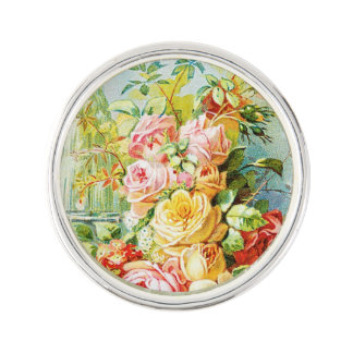Florida Water Perfume with Cabbage Roses Lapel Pin