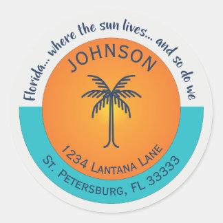 Florida... Where the Sun Lives Return Address Classic Round Sticker