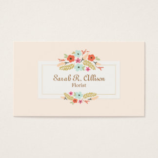 Florist Floral Bouquet Peach Business Card