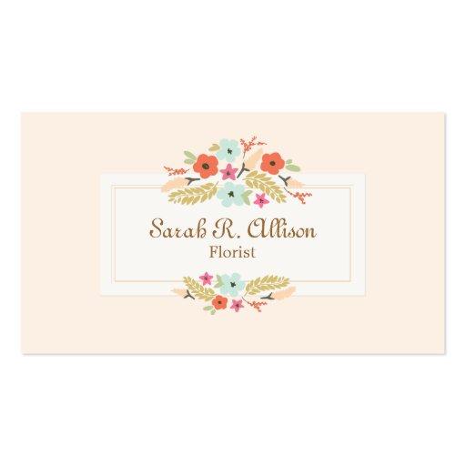 Florist Floral Bouquet Peach Business Cards