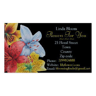 florist/gardener red yellow blue Lilies floral Pack Of Standard Business Cards