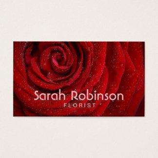 Florist red rose business card