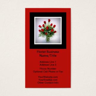 Florist   Roses Bouquet Vertical Black Red Business Card