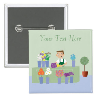 Florist Working In Store With Flowers Personalized 2 Inch Square Button