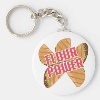 Flour Power Basic Round Button Keychain