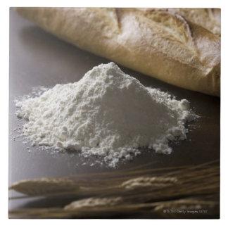 Flour, wheat and bread ceramic tile