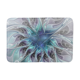 Flourish Abstract Modern Fractal Flower With Blue Bathroom Mat