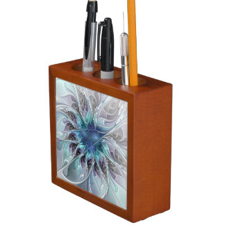 Flourish Abstract Modern Fractal Flower With Blue Desk Organizer