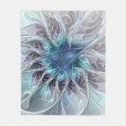 Flourish Abstract Modern Fractal Flower With Blue Fleece Blanket