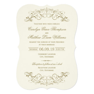 Flourish antique d'or du faire-part de mariage |