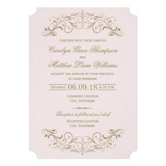 Flourish antique d'or du faire-part de mariage | carton d'invitation  12,7 cm x 17,78 cm