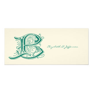 Flourish Aqua Letter B Monogram Card