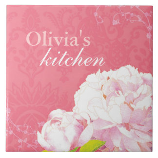Flourish Coral Peony Swirls Kitchen Trivet Deco