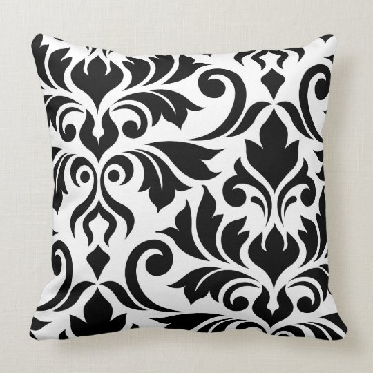 Flourish Damask 2Way Art I BW Throw Pillow