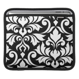 Flourish Damask 2Way Art I White & Black iPad Sleeve