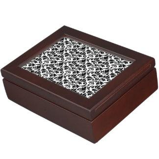 Flourish Damask 2Way Pattern Black & White Keepsake Boxes