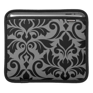 Flourish Damask Art I Black on Gray iPad Sleeve