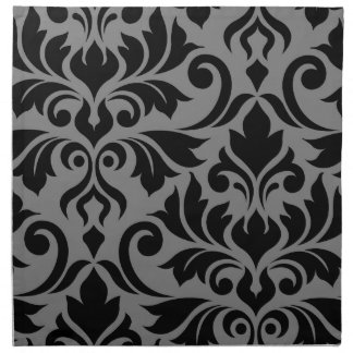 Flourish Damask Art I Black on Gray Napkin