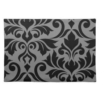 Flourish Damask Art I Black on Gray Placemat