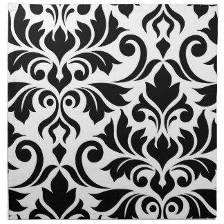 Flourish Damask Art I Black on White Napkin