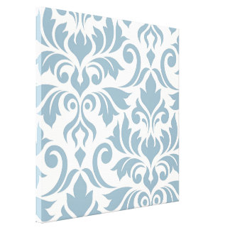 Flourish Damask Art I Blue on Cream Canvas Print