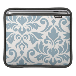 Flourish Damask Art I Blue on Cream iPad Sleeve