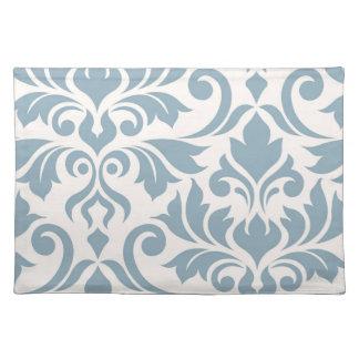Flourish Damask Art I Blue on Cream Placemat