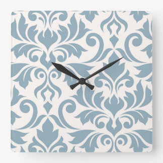 Flourish Damask Art I Blue on Cream Square Wall Clock