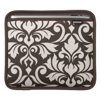Flourish Damask Art I Cream on Brown iPad Sleeve