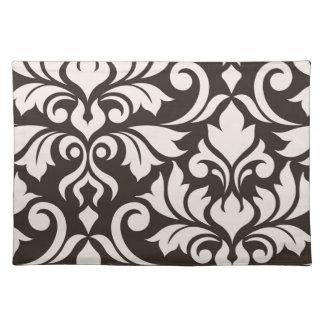 Flourish Damask Art I Cream on Brown Placemat