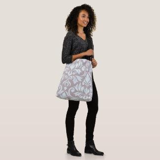 Flourish Damask Art I Duck Egg Blue on Taupe Crossbody Bag