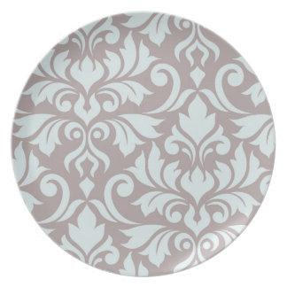 Flourish Damask Art I Duck Egg Blue on Taupe Plate