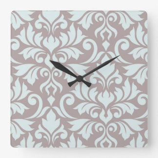 Flourish Damask Art I Duck Egg Blue on Taupe Square Wall Clock