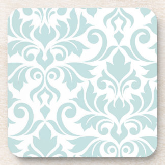 Flourish Damask Art I Duck Egg Blue on White Coaster