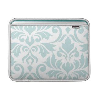 Flourish Damask Art I Duck Egg Blue on White MacBook Sleeve