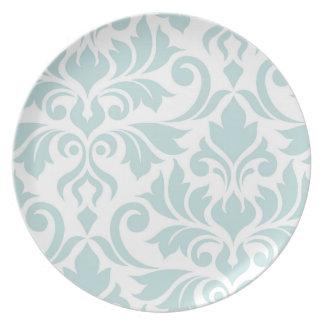 Flourish Damask Art I Duck Egg Blue on White Plate