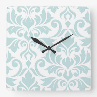 Flourish Damask Art I Duck Egg Blue on White Square Wall Clock