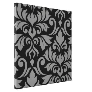 Flourish Damask Art I Gray on Black Canvas Print