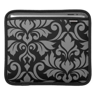 Flourish Damask Art I Gray on Black iPad Sleeve