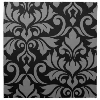 Flourish Damask Art I Gray on Black Napkin