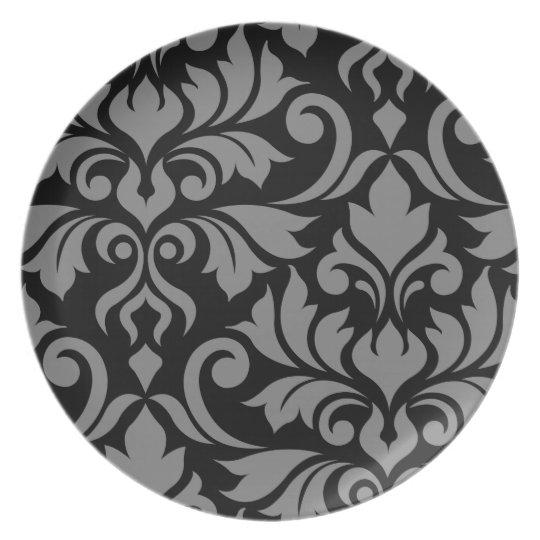 Flourish Damask Art I Grey on Black Plate