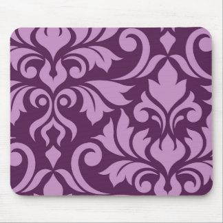 Flourish Damask Art I Pink on Plum Mouse Pad