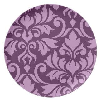 Flourish Damask Art I Pink on Plum Plate