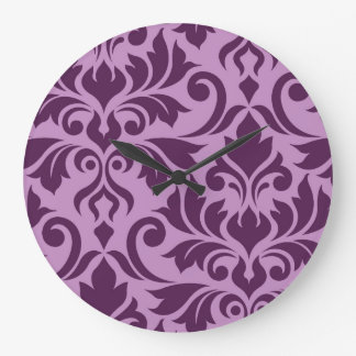 Flourish Damask Art I Plum on Pink Large Clock