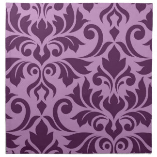 Flourish Damask Art I Plum on Pink Napkin