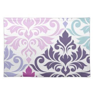 Flourish Damask Art I Purples Pinks Blue White Placemat